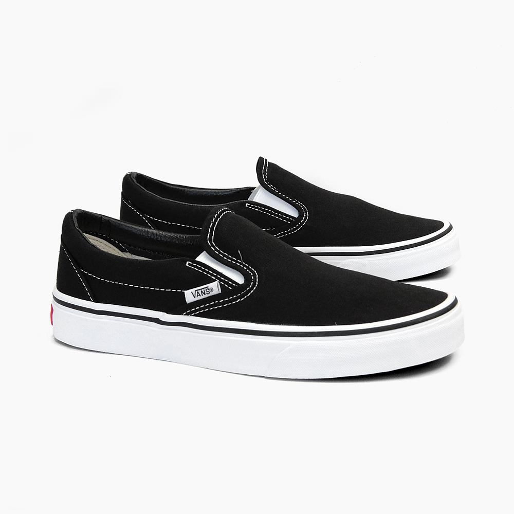 vans slip on black white