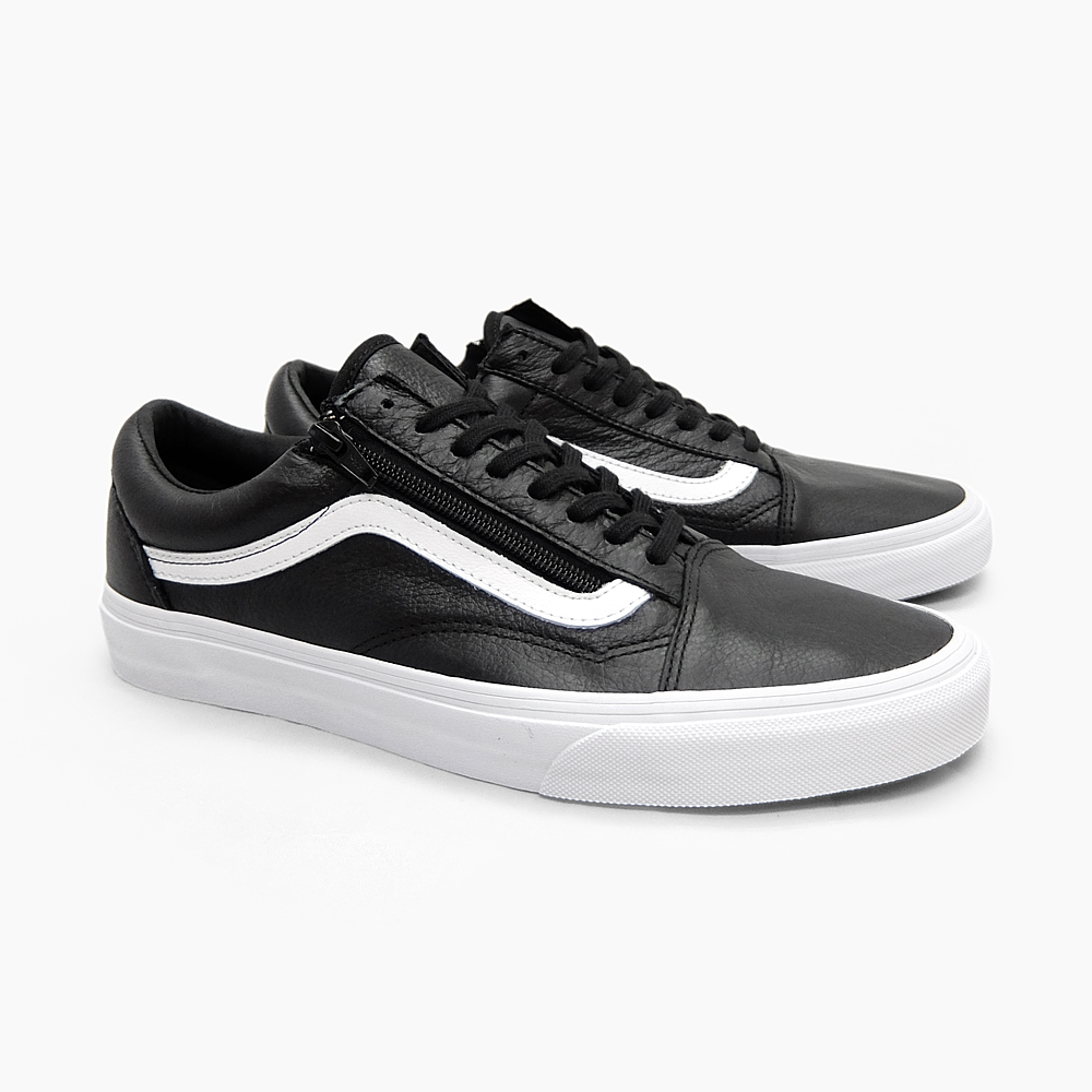 old skool black leather vans mens