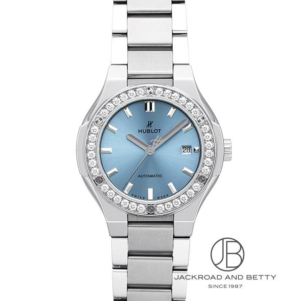ウブロ HUBLOT クラシックフュージョン チタニウム ライトブルー ダイヤモンド ブレスレット 585.NX.891L.NX.1204 新品 時計 レディース