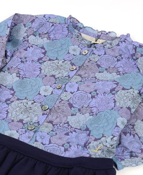 """ル レ―ヴ ドゥ リリー(Le reve de Lily)コットン ウール キッズ フリルカラー リバティ切替 ワンピース """"Ruffle Collar LIBERTY Top Dress""""・LKG-12-3201402【レディース】"""