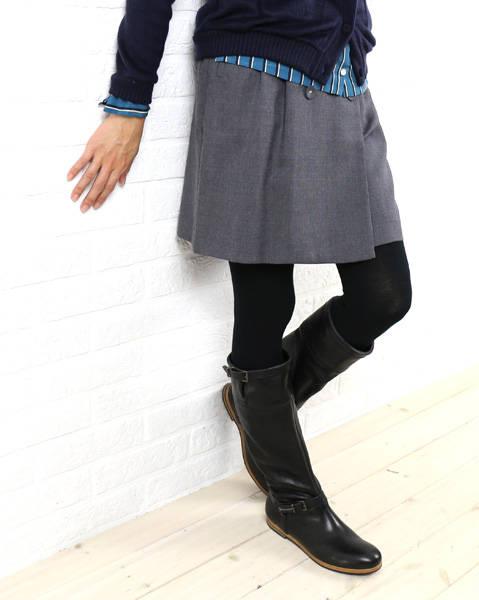 ニーム(NIMES)ウール 膝上 フロントボタン スカート・NLG4510091-0091402【レディース】