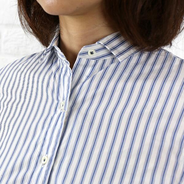 【ラ マリン フランセーズ LA MARINE FRANCAISE】 Blanc et Bleu コットン 【レディース】 レギュラーシャツ・MLG4102041-0091401