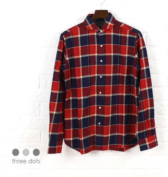 スリードッツ(three dots)コットン 長袖 チェック柄 ネルシャツ・SO248M-0441502【メンズ】