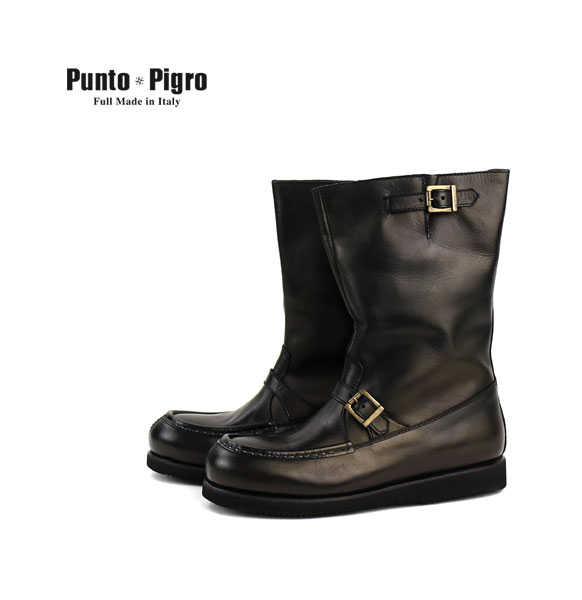 プントピグロ(PUNTO PIGRO)レザー ベルト付き エンジニアブーツ・NPP1553-0341502【メンズ】【D-4】