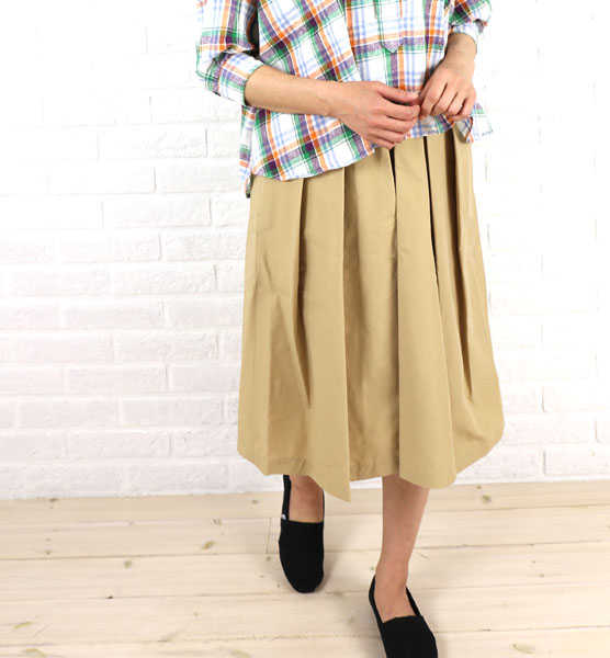 リクル(RICQLE)コットンナイロン ミモレ丈 タック スカート・104-7505R-1791501【レディース】