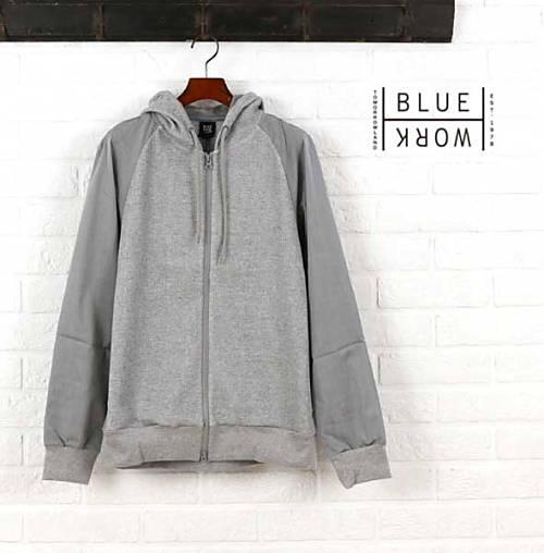 ブルーワーク(Blue Work)綿ポリエステル 袖切替 ジップアップパーカ・54-03-62-03105-0171601【メンズ】