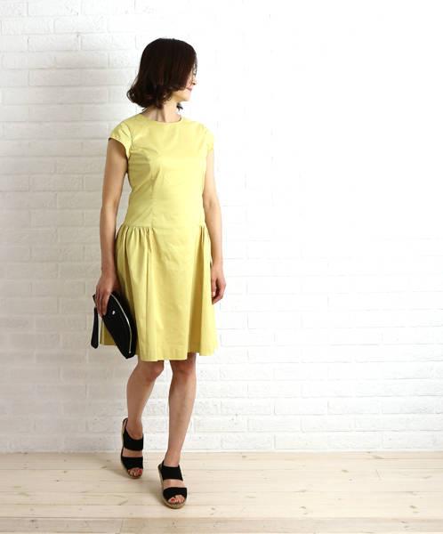 ドレスアプト(Dress apt.)ポリエステル綿 キャップスリーブ ワンピース・16489-1991601【レディース】