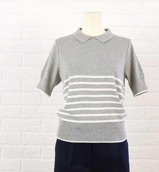 ニーム(NIMES)コットン 成形フライス 半袖 衿付き プルオーバー・NLK6305021-0091601【レディース】