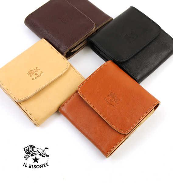 イルビゾンテ(IL BISONTE)レザー 二つ折り 財布・54162309440-0061701【メンズ】【レディース】