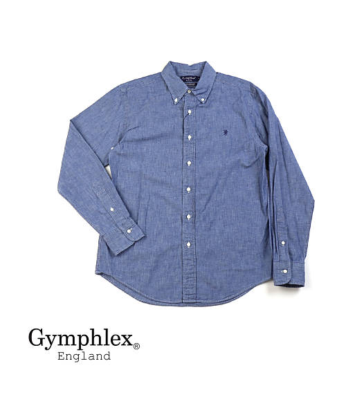 ジムフレックス(Gymphlex)コットンシャンブレー メンズ 長袖 ボタンダウンシャツ・J-0643COD-0321802【メンズ】【JP】【■■】