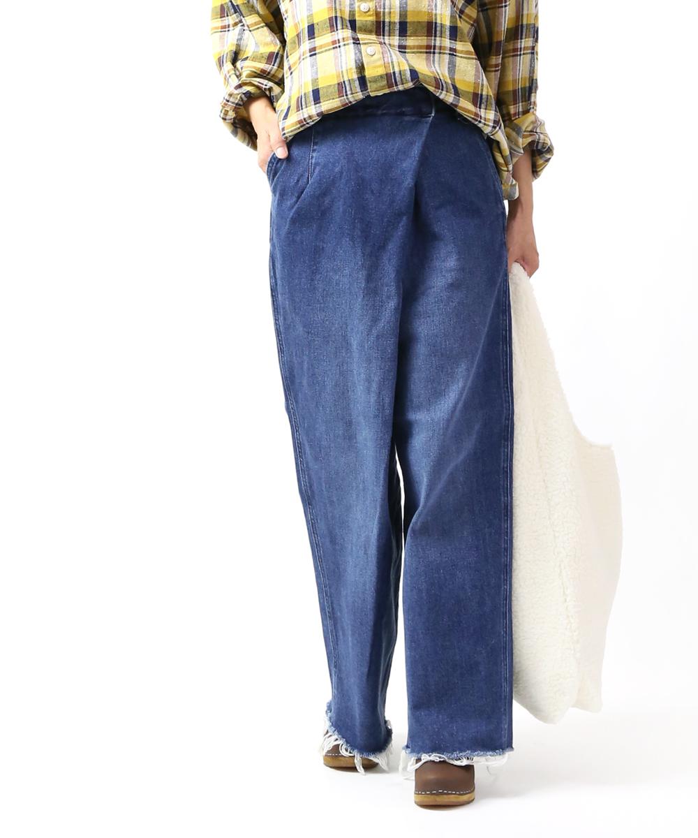 リー(Lee)コットンデニム フロントラップ テーパード デニムワイドパンツ ラップパンツ WRAP PANTS・LL6072-4251902【レディース】【■■】