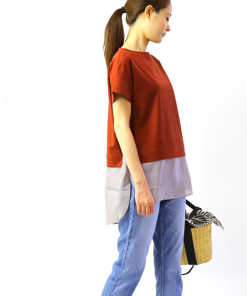 ププラ(PUPULA)コットンリネンツイル 半袖 裾切替え レイヤードライク カットソー Tシャツ・197211-0141902【レディース】【■■】