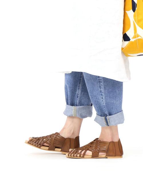 ビアンカ(Bianca)バケッタレザー メッシュ フラットサンダル メッシュサンダル・1224-VA-0242001【レディース】【■■】