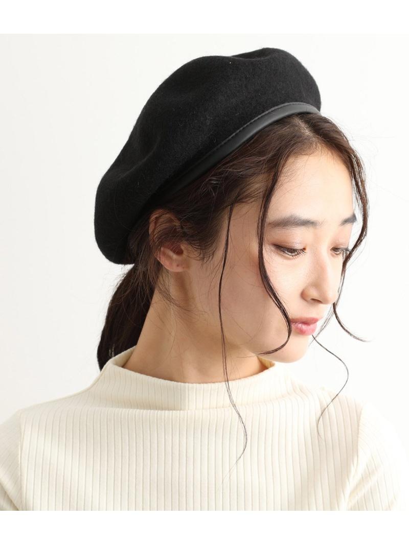 往復送料無料 jun_0518_all 完売 ViS レディース 帽子 ヘア小物 ビス Rakuten Fashion ブラウン SALE ベレー帽 60%OFF 合皮パイピングフェルトベレー グレー ブラック RBA_E