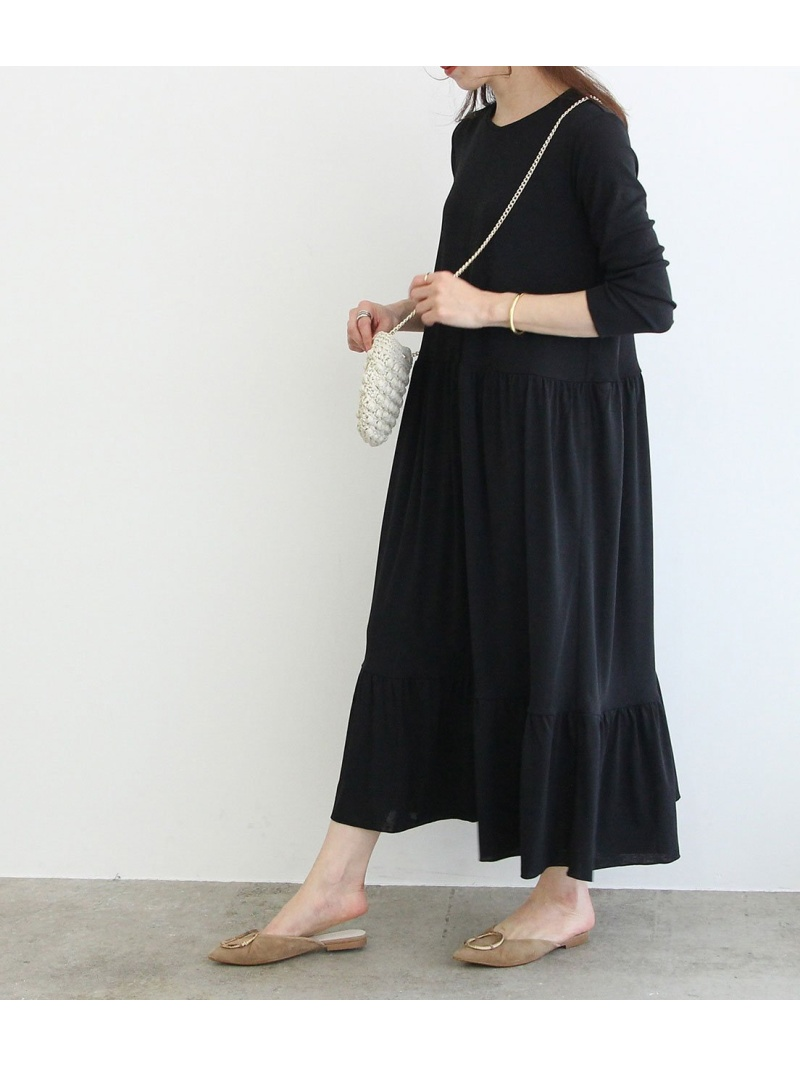 Rakuten FashionSALE 30 OFF ドライジャージーティアードワンピース ROPE' mademoiselle ロペ ワンピース ワンピースその他 ブラック ベージュ RBA E送料無料GSUMqzLVp