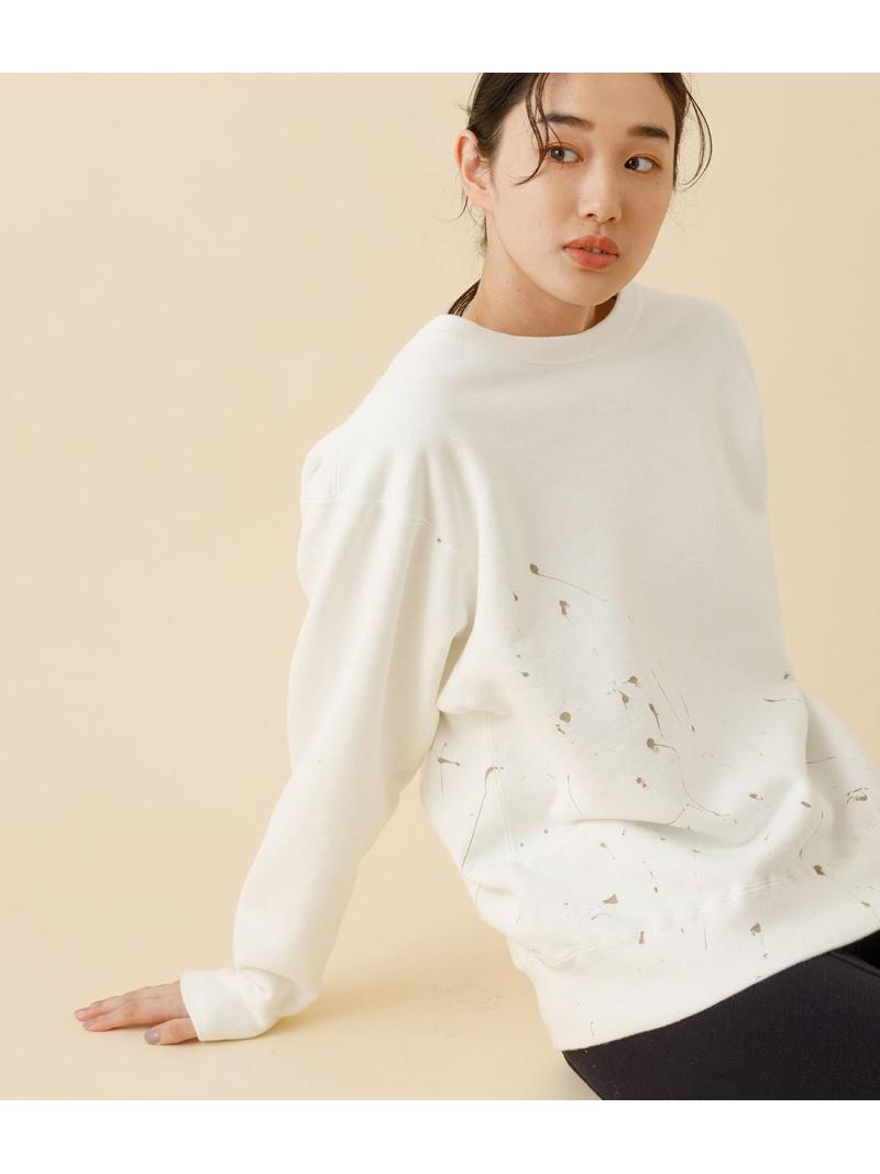 ADAM ET ROPE' レディース カットソー アダムエロペ Rakuten Fashion ATON 販売実績No.1 CREWNECK 爆売りセール開催中 for PULLOVER ブラック スウェット 送料無料 漆ペイント ホワイト