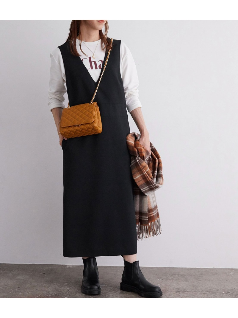 ROPE' レディース 特価 ワンピース ロペ 特価品コーナー☆ mademoiselle Rakuten Fashion Vネックジャンパースカート SALE ブラック 送料無料 ワンピースその他 10%OFF RBA_E