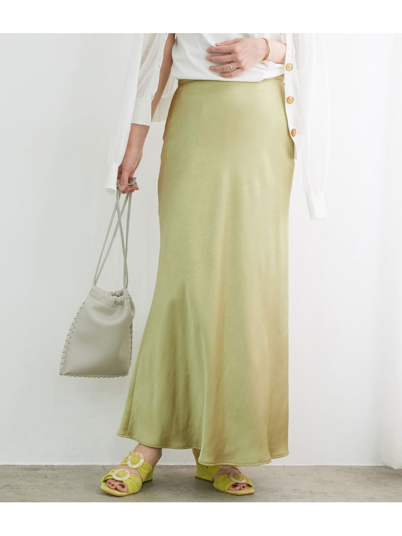 jun_beauty_0926 レディース スカート アダムエロペ Rakuten Fashion サテンマーメイドスカート 爆買い新作 ADAM ブラウン グリーン ROPE' 低廉 ホワイト 送料無料 ET スカートその他