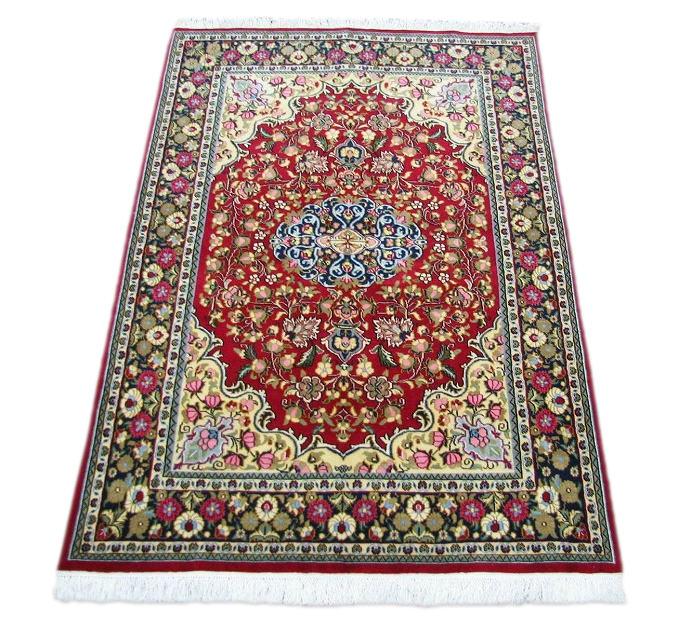 ★大特価 【ペルシャ絨毯・カーペット】美しい手織り高級 コルク100% クム産絨毯★サイズ:156cmx105cm【送料無料】
