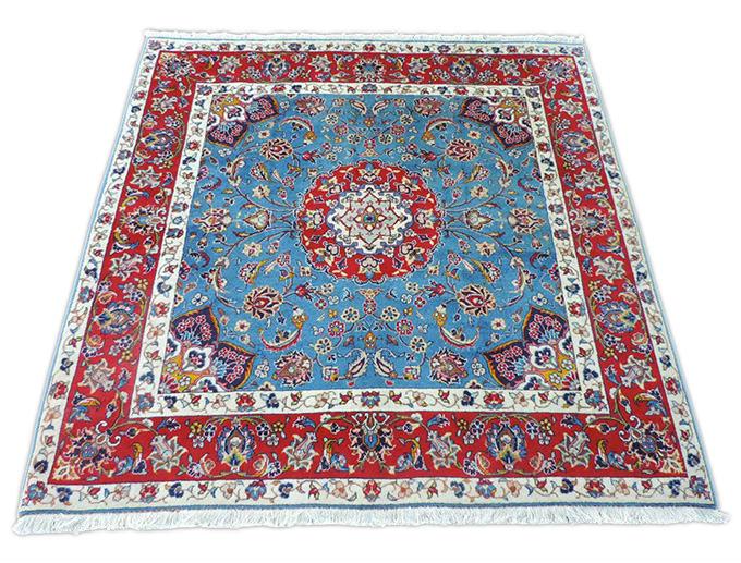 ペルシャ絨毯 手織り ウール100% イラン カシャン産中型サイズ:198cm×194cm【カーペット/絨毯/大特価/送料無料】