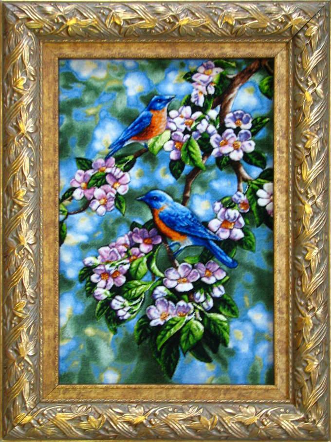 【額入りペルシャ絨毯】 【芸術品】コルク&シルク 手織り ペルシャ絨毯 イラン タブリーズ産花 鳥 (額付)【送料無料】