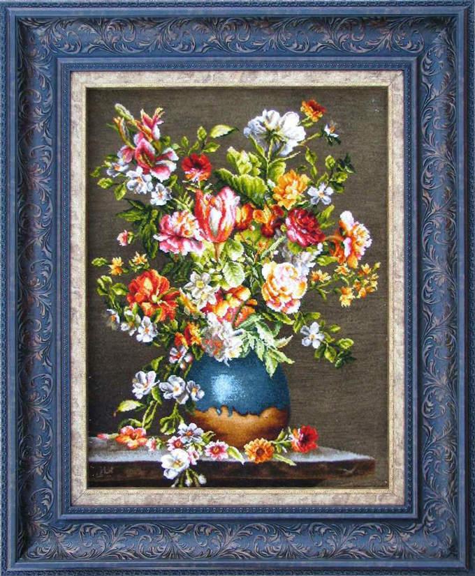 【額入りペルシャ絨毯】 【芸術品】コルク&シルク 手織り ペルシャ絨毯 イラン タブリーズ産 (額付) 花【送料無料】