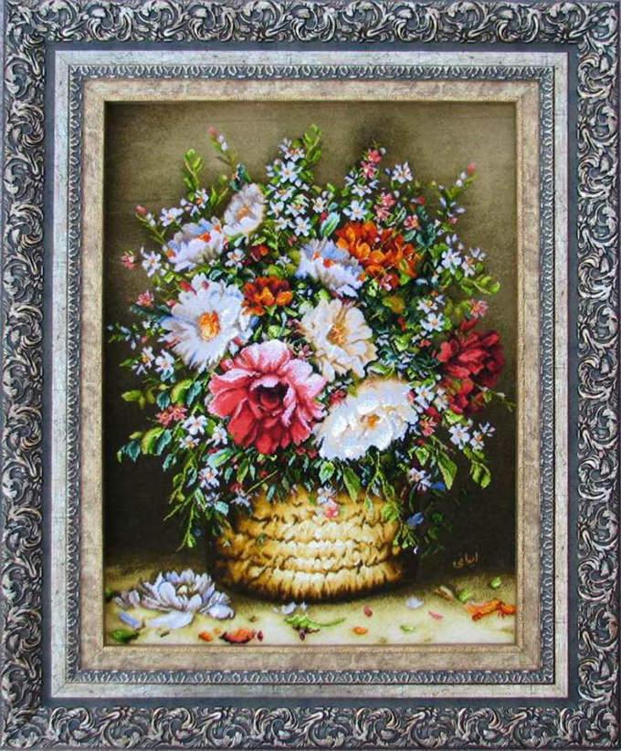 【額入りペルシャ絨毯】 【芸術品】コルク&シルク 手織り ペルシャ絨毯イラン タブリーズ産 (額付) 花【送料無料】