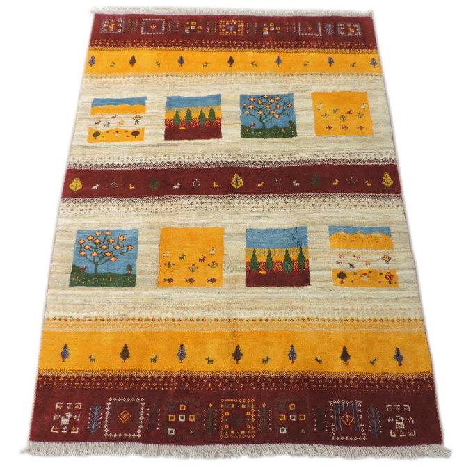 細かな密度の高級ギャッベ ギャベ 手織り ウール100% ギャッベの本場 イラン シラーズ産 ラグサイズ 246cm×167cm カーペット 絨毯 本物保証