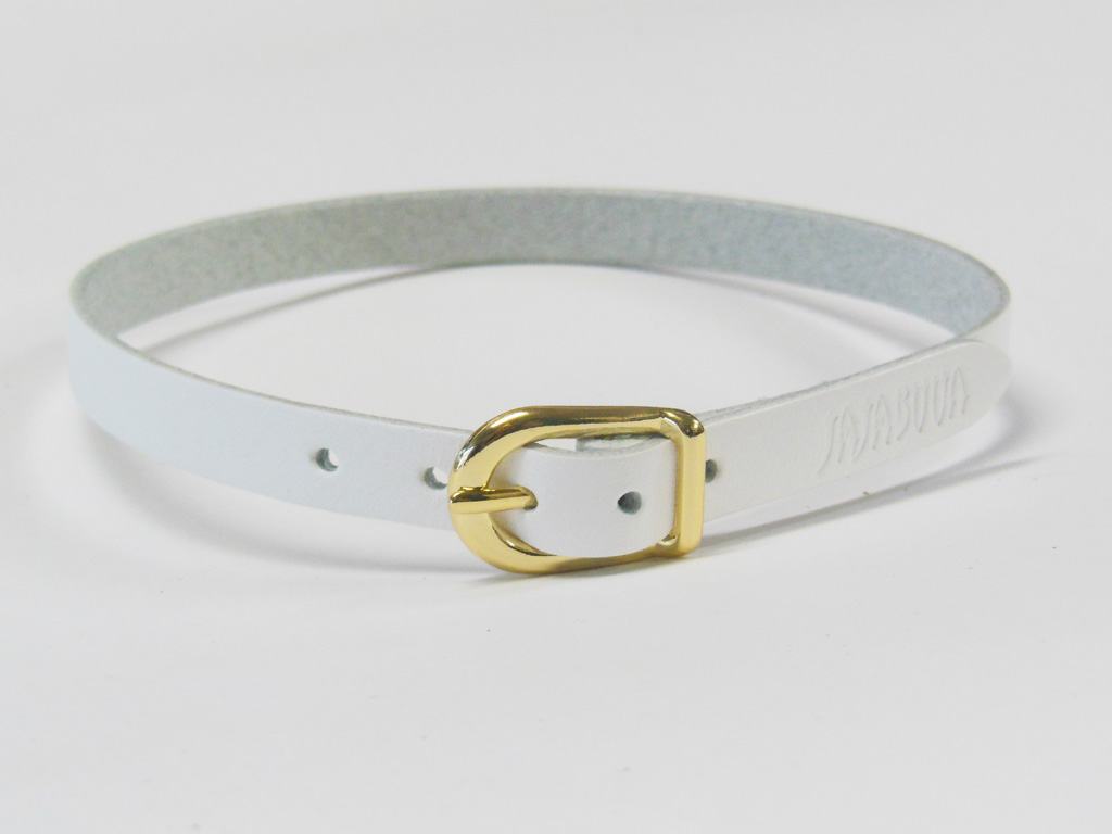 5b58a568811ef JAJABOON leather Choker white (gold buckle) choose from three sizes leather  (leather)-judge been