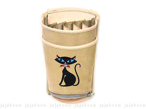 JAJABOON 黒猫シザーケース ベージュ 5丁差し (革ベルト付き)