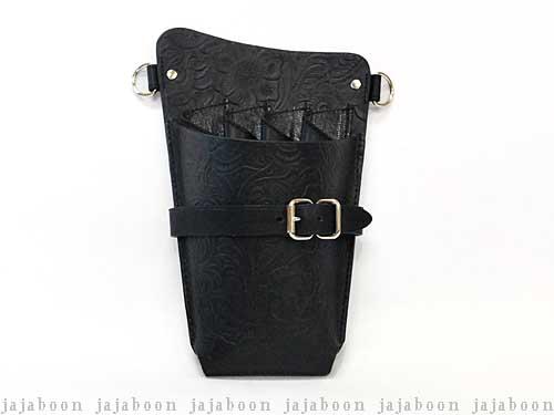 JAJABOON シザーケース ホルスタータイプ 黒アラベスク(唐草模様) 左利き用 (革ベルト付き)
