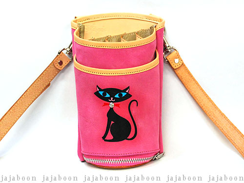JAJABOON 黒猫シザーケース ピンク 5丁差し (革ベルト付き)