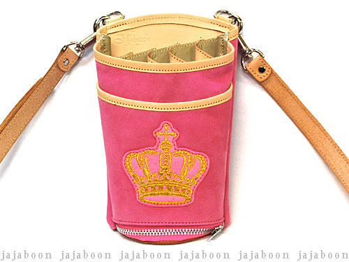 JAJABOON 王冠シザーケース ピンク 5丁差し (革ベルト付き)