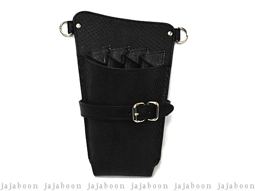 JAJABOON シザーケース ホルスタータイプ ダイヤモンドパイソン黒 左利き用 (革ベルト付き)