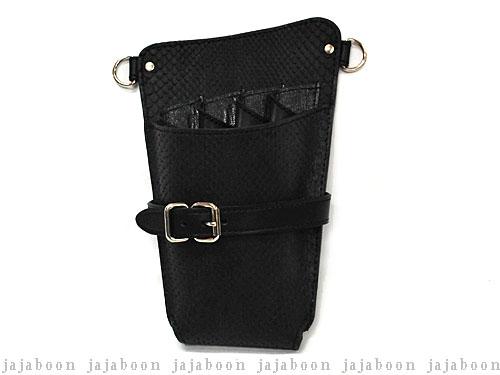 JAJABOON シザーケース ホルスタータイプ ダイヤモンドパイソン黒 右利き・両用 (革ベルト付き)
