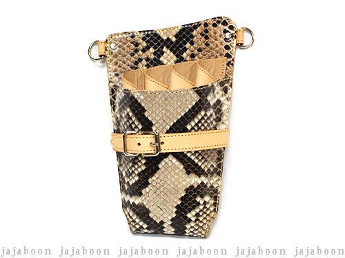 JAJABOON シザーケース ホルスタータイプ ダイヤモンドパイソン 右利き・両用 (革ベルト付き)