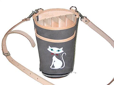JAJABOON 白猫シザーケース グレー 5丁差し (革ベルト付き)