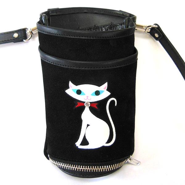 JAJABOON 白猫シザーケース ブラック 5丁差し (革ベルト付き)
