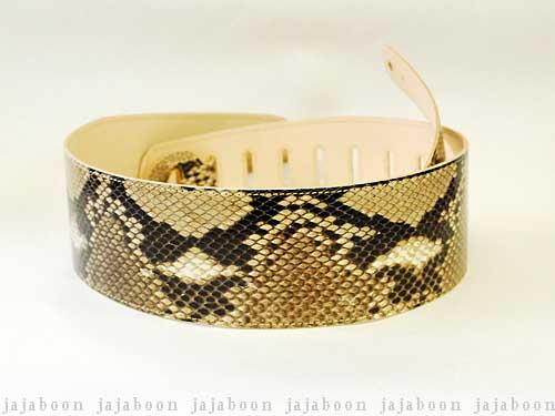 JAJABOON ダイヤモンドパイソンギターストラップ 78mm ギターピック入れ付 蛇革(パイソン)製