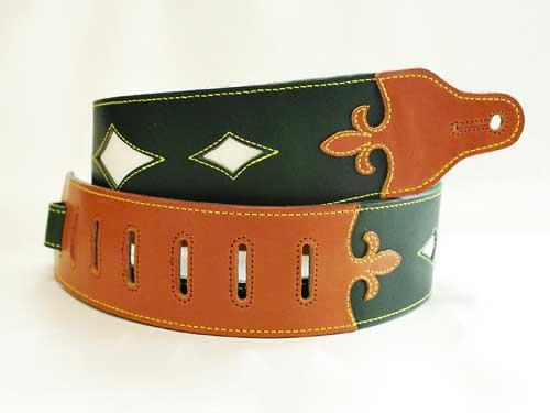 JAJABOON ブリティッシュスタイル ユリの紋章ギターストラップ 緑×茶(グリーン×ブラウン)ホワイトポイント 本革(レザー)製