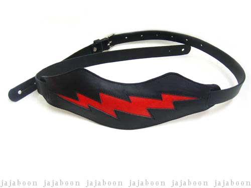JAJABOON 稲妻ギターストラップ 黒×赤い稲妻 本革(レザー)製