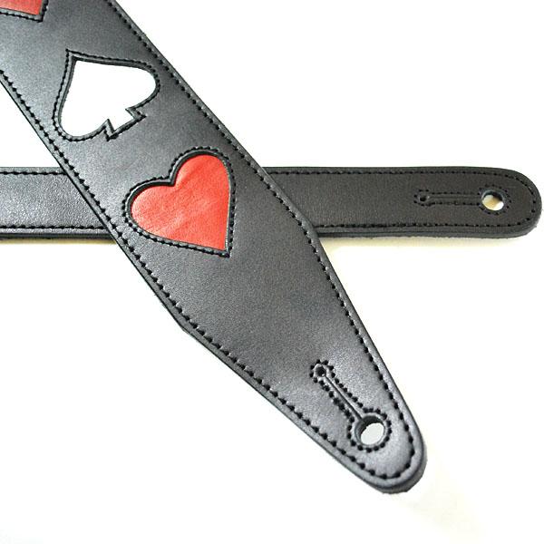 JAJABOON トランプ柄ギターストラップ 4スーツ 黒 本革(レザー)製