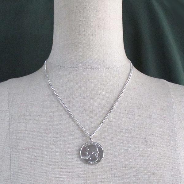 JAJABOON ワシントン クオーター ダラー 25セント 銀貨 コイン ペンダント シルバー アクセサリー ユニセックス