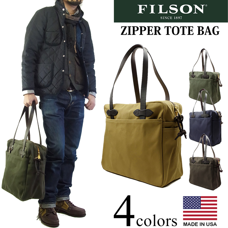 Filson Canvas Zipper Tote Bag Navy