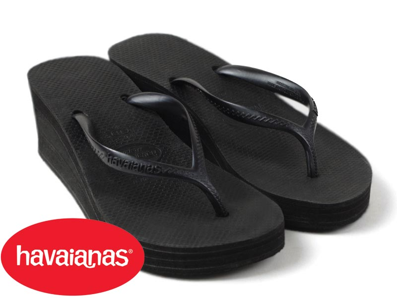57167cdab031 Jalana  Hawaiian announcers havaianas Lady s beach sandal high style black  (for the HIGH FASHION B sun wedge sole thickness bottom woman)