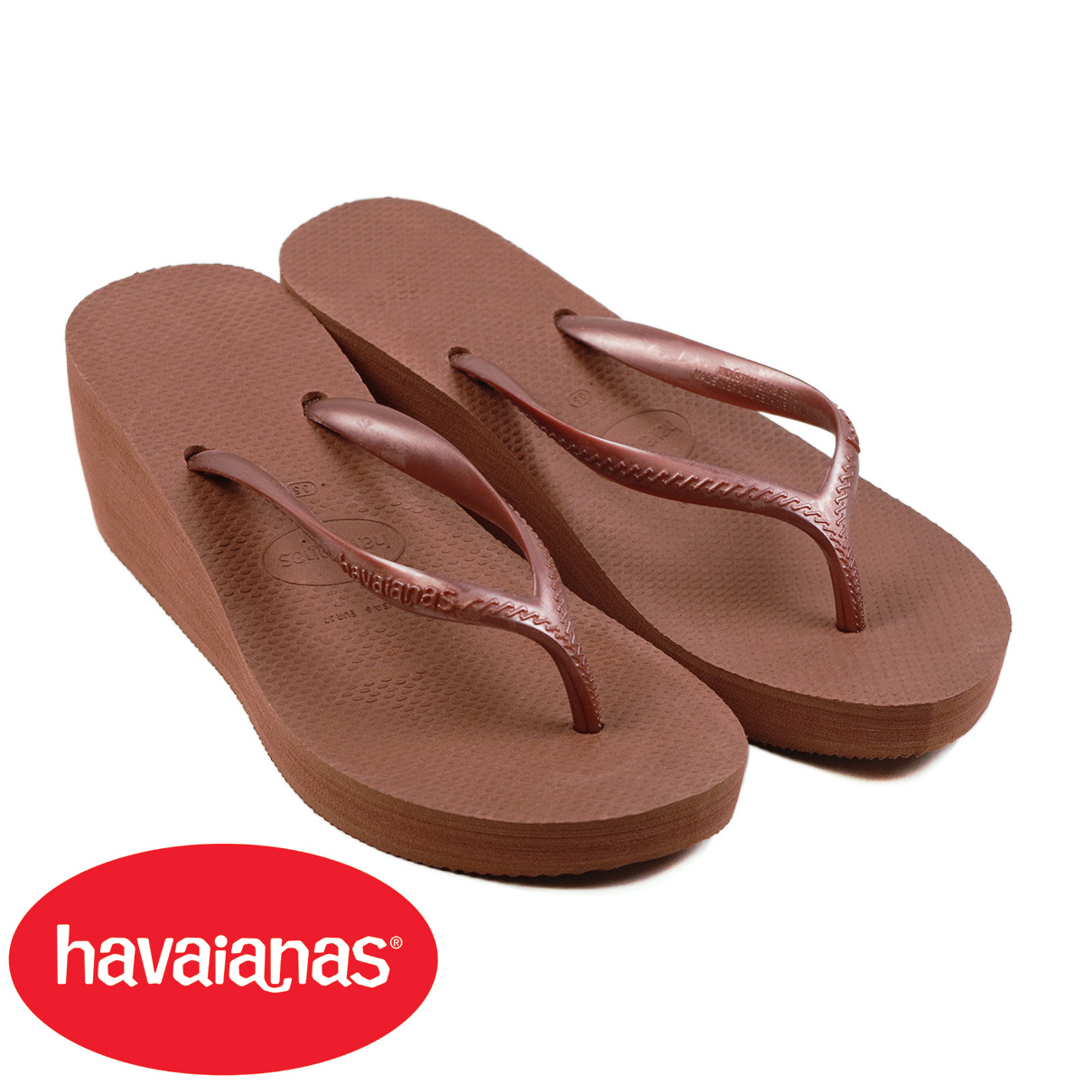 b44d5430eae Hawaiian announcers havaianas Lady s beach sandal high style bronze nude  (for the HIGH FASHION B sun wedge sole thickness bottom woman)