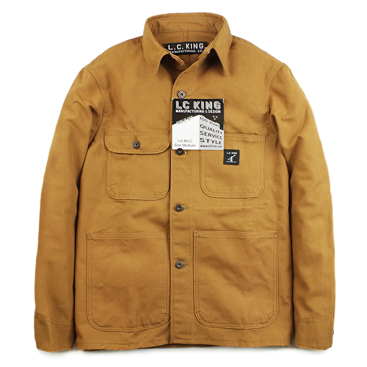 L. Charles King LOT46LC カバーオールブラウンダックチョアコート MADE IN USA (L.C.KING work jacket made in the United States made in the United States)