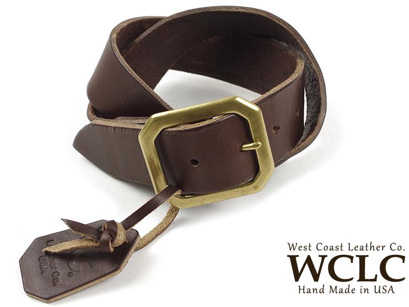 WCLC ウエストコーストレザーカンパニー ヘビーサドルレザーベルト BIGSIZE ブラウン 米国製 (大きいサイズ 4.5~5mm厚 West Coast Leather Company MADE IN USA)