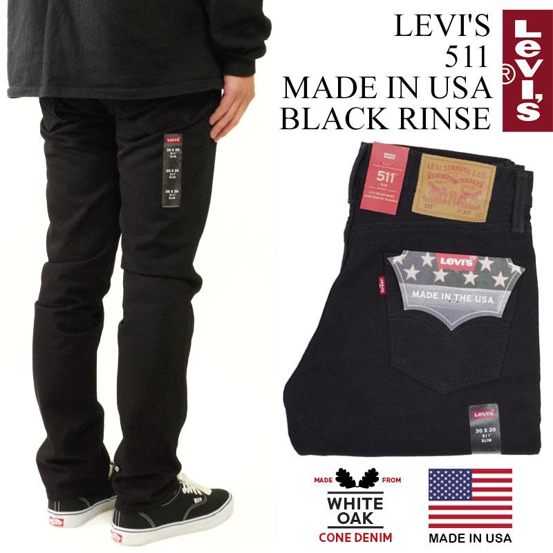 リーバイス LEVI'S 511 MADE IN USA ブラックリンス ■バンダナプレゼント■(米国製 アメリカ製 LEVIS ワンウォッシュ コーンデニム ホワイトオーク コーンミルズ 04511-2299)