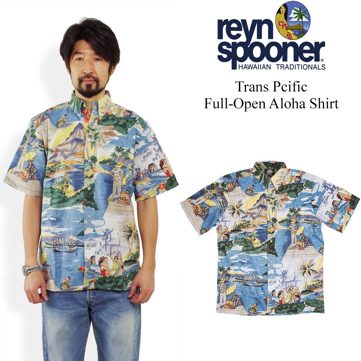 レインスプーナー REYN SPOONER 半袖 アロハシャツ フルオープン トランスパシフィック 40's アジア製 シーニック (TRANS PACIFIC)